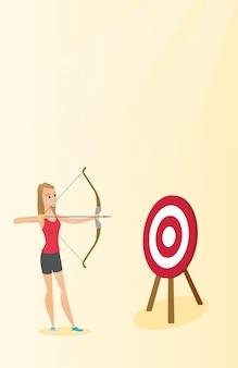 Sportvrouw die met een boog en een pijl op doel streven.