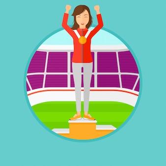 Sportvrouw die op het winnaarspodium vieren.