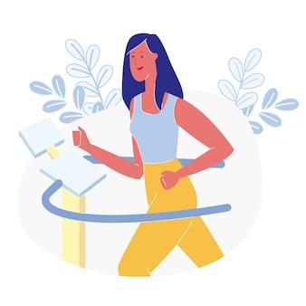 Sportvrouw die treadmill flat illustration gebruiken