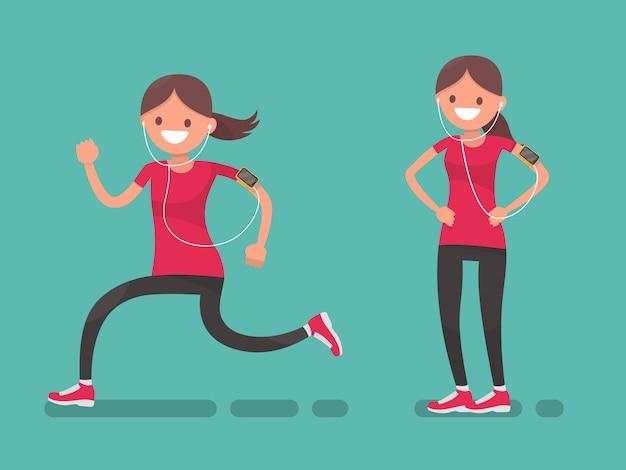Sportvrouw hardlopen en na het hardlopen