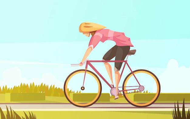 Sportvrouw retro cartoon compositie met platte vrouwelijke personage