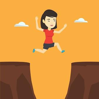 Sportvrouw springen over klif vectorillustratie
