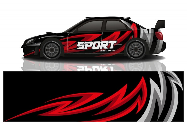 Sportwagen verpakking sticker ontwerp