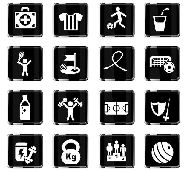 Sportwebpictogrammen voor gebruikersinterfaceontwerp