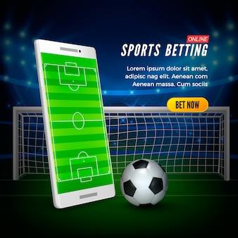 Sportweddenschappen online webbanner concept. voetbalstadion achtergrond en smartphone met voetbalveld op scherm en bal.
