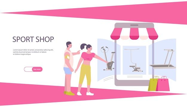 Sportwinkel horizontale banner met bewerkbare tekst zie meer knop en platte karakters van winkelklanten