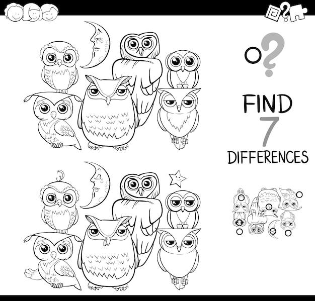 Spot het verschil met uilen kleurboek