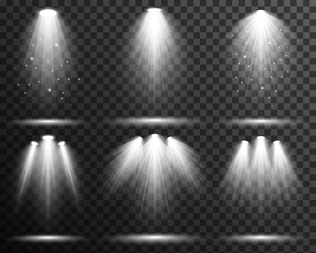 Spot light lighting collection stage vector transparent