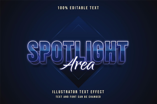 Spotlight-gebied, bewerkbaar teksteffect blauwe gradatie paarse neon tekststijl