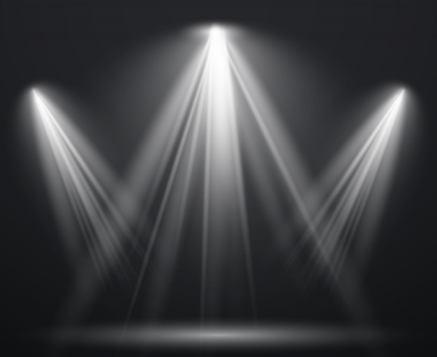 Spotlight-scène. lichteffect spotprojector ray studio glow lamp stralen stralende heldere lichtshow, scèneverlichting