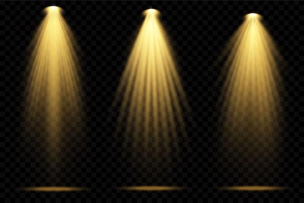 Spotlights geel. tafereel. lichte transparante effecten.