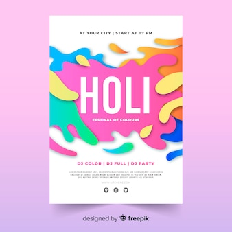 Spots holi festival feestaffiche