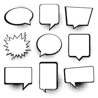 Spraak- of tekstballonnen. retro lege komische tekstballonnen