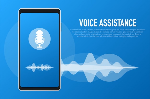 Spraakassistent en stemherkenning concept