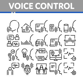 Spraakbesturing collectie elementen icons set Premium Vector