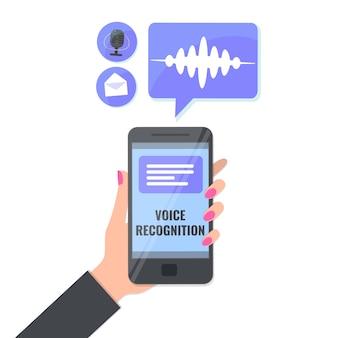 Spraakherkenning en spraakbericht, stemtypeconcept.