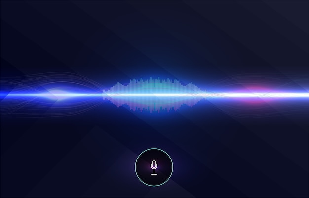 Spraakherkenning, equalizer, audiorecorder. microfoonknop met geluidsgolf.