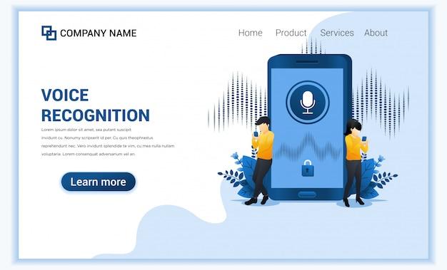 Spraakherkenning, identificatie van spraakbeveiliging met mensen in de buurt van smartphone. digitale spraakassistent.