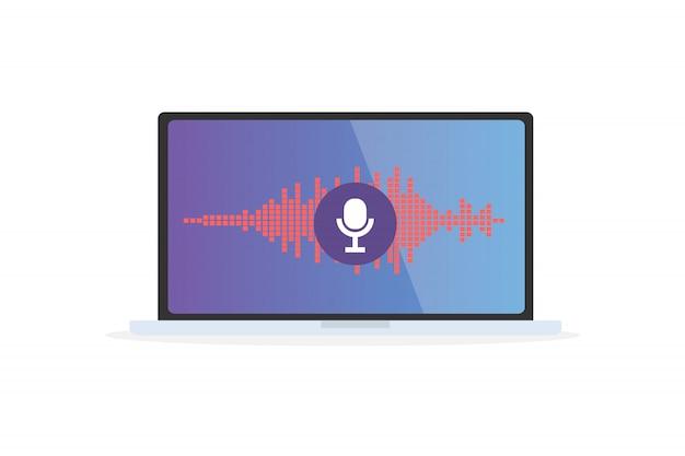 Spraakherkenning persoonlijke assistent op mobiele app. conceptenillustratie van apparaat met microfoonpictogram op het scherm en stem en geluidsimitatielijnen.