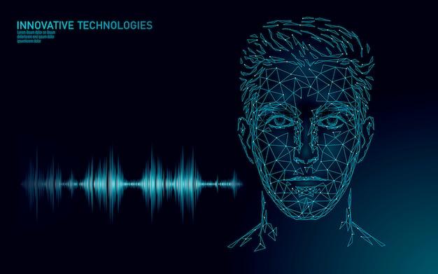 Spraakherkenningsservice-technologie voor virtuele assistenten. ai kunstmatige intelligentie robotondersteuning. chatbot mannelijke man geconfronteerd met laag poly illustratie