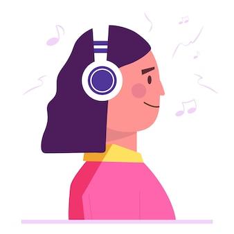 Spraakopnamestudio. vrouw in koptelefoon luisteren muziek en zingen platte stijl concept. meisje neemt nieuw nummer op. karaoke feest. platte vectorillustratie geïsoleerd op een witte achtergrond