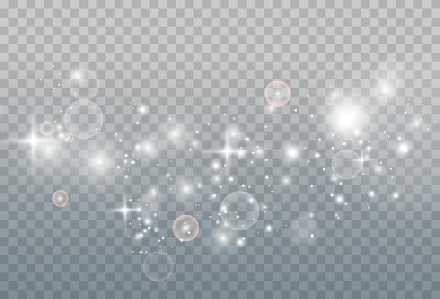 Sprankelend magisch stof. op een textuur blauwe achtergrond. viering abstracte achtergrond van licht en zilver glinsterende stofdeeltjes en sterren. magisch effect. feestelijke illustratie.
