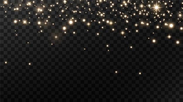 Sprankelend magisch stof op zwarte achtergrond, gouden glinsterende stofdeeltjes