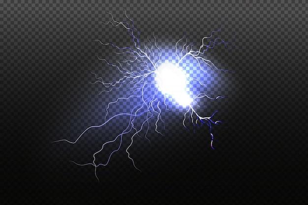 Sprankelende bliksem op zwarte achtergrond. heldere lichteffecten