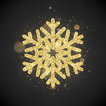 Sprankelende glitter bedekte gouden sneeuwvlok. uitnodiging gelukkig nieuwjaar en kerstkaart sjabloon.