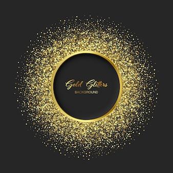 Sprankelende gouden glitter textuur ronde frame. glanzende banner