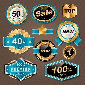 Sprankelende gouden labels-collectie voor gebruik in de detailhandel