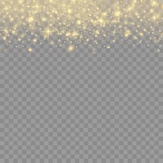Sprankelende gouden magische stofdeeltjes op transparante achtergrond, fonkeling, glanslichten, gele stofvonken en sterrenglans met speciaal licht, kerst sprankelend lichteffect.