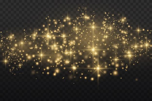 Sprankelende gouden magische stofdeeltjes op transparante achtergrond.