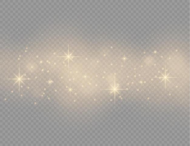 Sprankelende gouden magische stofdeeltjes schitteren glanslichten gele stofvonken en ster