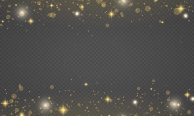 Sprankelende gouden magische stofdeeltjes schitteren lichtgele vonken sterglans kerstschittering