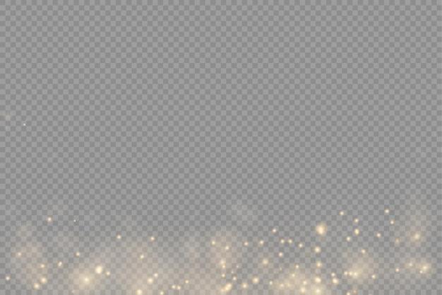 Sprankelende gouden stofdeeltjes bokeh kerst fonkeling lichteffect fonkeling gele vonken ster