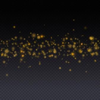 Sprankelende magische gouden stofdeeltjes helder licht gloed bokeh achtergrond glitter deeltjes vector
