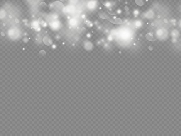 Sprankelende magische stofdeeltjes bokeh geïsoleerd op transparante achtergrond.