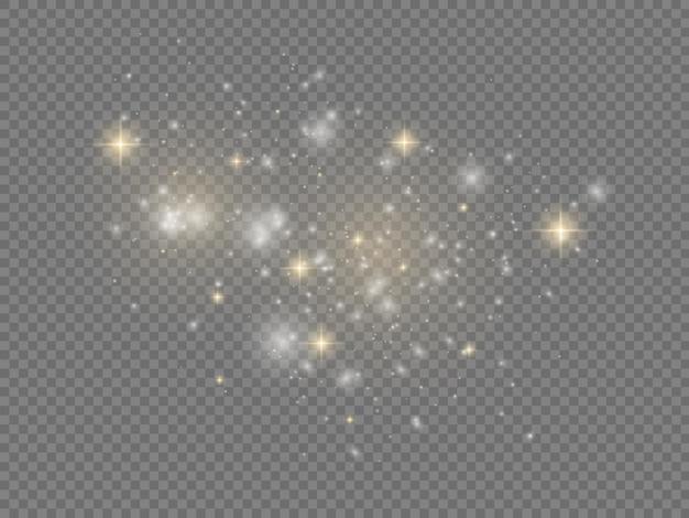 Sprankelende magische stofdeeltjes witte vonken gouden sterren schijnen kerst fonkelt lichteffect