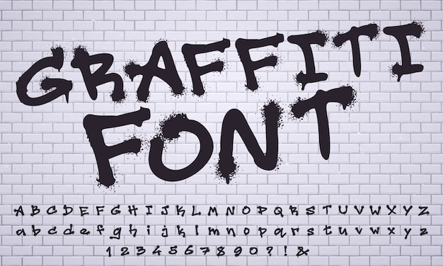 Spray graffiti lettertype. city street art wall tagging belettering, vuile graffitis cijfers en letters vector set
