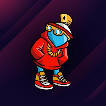 Spray mascot awesome logo ontwerp