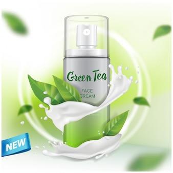 Spray met groene thee-extract reclame voor catalogus, tijdschrift. van cosmetische verpakking