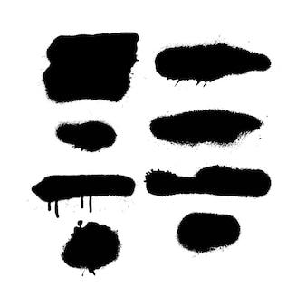Spray paint burst texturen met overspray. zeer gedetailleerde vectorstructuren uit scans met hoge resolutie