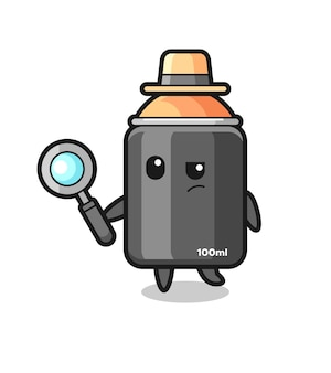 Spray paint detective karakter analyseert een case, schattig stijlontwerp voor t-shirt, sticker, logo-element
