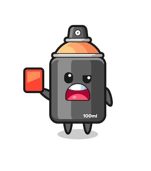Spray paint schattige mascotte als scheidsrechter die een rode kaart geeft, schattig stijlontwerp voor t-shirt, sticker, logo-element