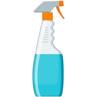 Spray schonere fles vector chemisch wasmiddel op wit