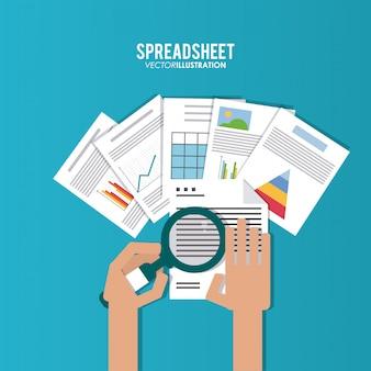 Spreadsheet, technologie en infographic concept