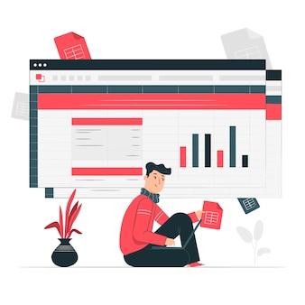 Spreadsheets concept illustratie