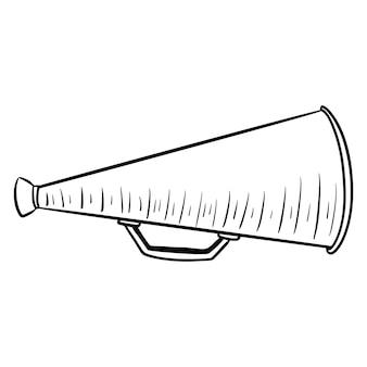 Spreek luid. een apparaat om het volume te verhogen. megafoon. lijn stijl. illustraties voor ontwerp en decoratie. Premium Vector