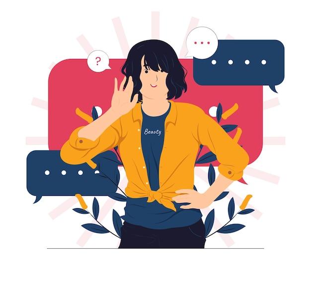 Spreken, luisteren, horen, fluisteren en aandacht besteden aan conceptillustratie